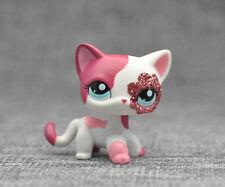 Littlest Pet Shop LPS Pink White Short Hair Cat Child Toys #2291 Xmas