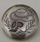 Collectible Vtg Silver Button Military(?) Hat Laurels Civil War? Hat? Wheat  for sale