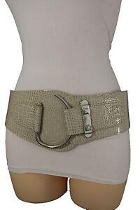 Hot Women Elastic Beige Hip Waist Fashion Corset Belt Big Silver Hook Buckle S M