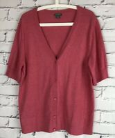 Eddie Bauer Women's Cardigan Sweater XL Short Sleeve Button Front Pink V Neck