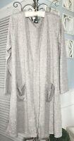 New Plus 2X 1X Gray Beige Open Cardigan Duster Long Topper Sweater
