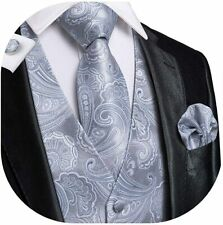 Dubulle Mens Paisley Tie and Vest Set with Pocket Square Cufflinks Waistcoat Sui