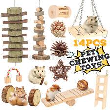 14x Wooden Rabbit Hamster Chew Bite Hammock Toys Pet Rat Guinea Pig Chinchilla