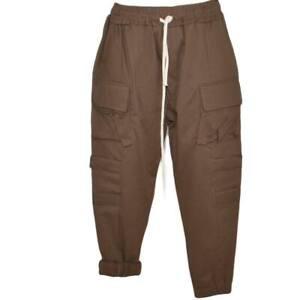 Pantaloni cargo uomo cuoio con tasconi laterali ed elastico in vita con laccio c
