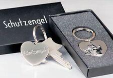 Schlüsselanhänger Schutzengel, Metall silber Schlüsselring Herz Engel Anhänger