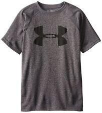 Under Armour Boys' Tech Big Logo Short Sleeve T-Shirt Gray- Large