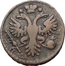 1730 ANNA IVANOVNA Russian Empress Antique Denga 1/2 Kopek Coin Eagle i56440