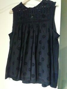 Blouse 14 Black Anglaise Cotton lace/ jersey high neck Steampunk Goth sleeveless
