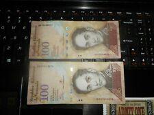 2 pieces DIFFERENTS VENEZUELA      Currency  100 BOLIVARES  BR 1248