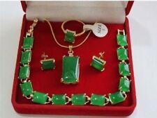 Charming Green Jade 18K GP Pendant Bracelet Earring Ring Jewellery Set