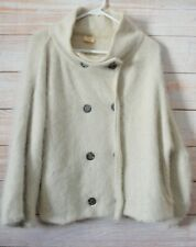 Gorman Button Front Cardigan Knit Size L Beige Cream Double Breast Angora Wool