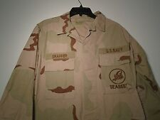 US NAVY SEABEES DESERT COMBAT UNIFORM DCU COAT 2004 SMALL REGULAR SHAFFER R-13