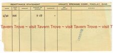 1940s OHIO Findlay KRANTZ BREWERY Remittance Statement Tavern Trove
