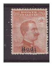 Islands Egeo Rodi 1918 - Cent 20 New Double Soprastampa