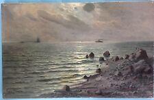 2v2 Ölgemälde Abend Meer Brandung Mond Küste Finnland Suomi Eugen Stanowsky 1911