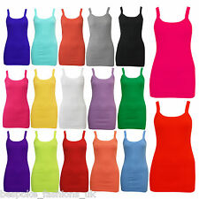 WOMENS PLAIN BRIGHT STRETCHY LADIES RIBBED VEST TOP T SHIRT RIB STRAP SIZES 8-14