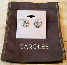 Carolee~Gold Tone~Yellow Topaz Crystal~Twisted Rope~Oval Button Stud Earrings