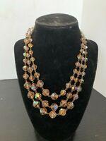 Vintage Topaz Aurora Borealis Faceted Glass 3 Strand Necklace