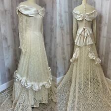 Vintage 1940s Wedding GOWN/DRESS Ivy Lace/Satin Scallops Party Lines/Emma Domb S