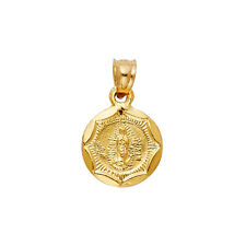 Unisex14K Yellow Real Gold Round Virgin Mary Lady Guadalupe Small Pendant Charm