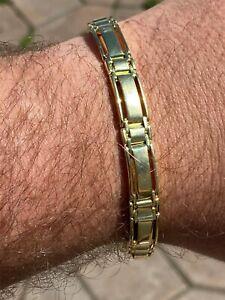 Men's Real Solid 14k Gold Over 925 Sterling Silver Presidential Link Bracelet