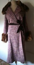 Anthropologie Tracy Reese New York Tweed Belted Faux Fur Coat SZ 4