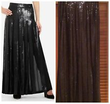 NWT BCBG MAXAZRIA  SEQUIN BLACK COM PLEATED LONG MAXI SKIRT sz S $448 WJB3D234