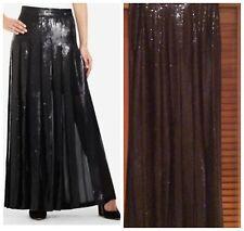 6159e12758 BCBG MAXAZRIA Sequin Black Com Pleated Long Maxi Skirt Sz S Wjb3d234