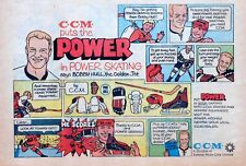 C.C.M. Hockey ad with Bobby Hull Power Skates - 1970 color cartoon comic ad page