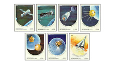 NIC8410 Manned space flights and moon research 7 stamps MNH NICARAGUA 1984