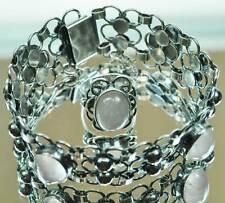 Tolles Schmuckset 70er Jahre Panton Armband / Ring Rosenquarz  925er  Silber