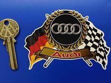 AUDI Flags & Scroll classic car sticker 80 90 100 QUATTRO TT RS A3 A4 A5 A6