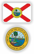 FLORIDA State Flag + SEAL 2 bumper stickers decals USA