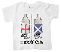 Baby T-Shirt Personalise 50% English Scottish Welsh Irish Any Country Flag