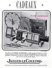 PUBLICITE JAEGER LECOULTRE PENDULETTE MONTRE PENDULE BAROMETRE DE 1938 FRENCH AD