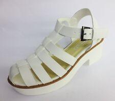Spot on F10169 Ladies White Caged Buckle Block Heel Sandals Gladiator