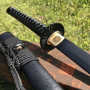 Black Spring Steel Japanese Samurai sword Handmade Sharp Combat Katana Full Tang