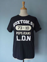 NWT Pepe Jeans 100% Cotton Black Print Patched Slim Fit T-Shirt Top Women XS S