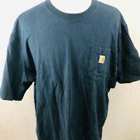 Carhartt Pocket T-Shirt 3XLarge Navy Blue Logo Patch Original Fit Short Sleeve