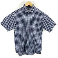 Lacoste Hemd Herren Gr. 39 M Blau Weiß Kariert Kurzarm Button-Down Shirt