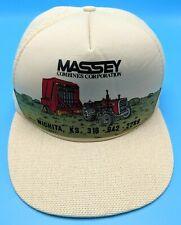 MASSEY COMBINES CORP vintage beige adjustable cap / hat - combine harvester