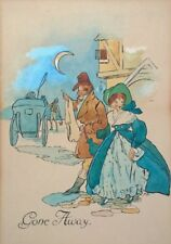 Original Antique Watercolour Painting Illustration Gone Away Figures Stagecoach