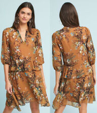 ANTHROPOLOGIE NWT Printed Flutter-Sleeve Shirtdress Gold Floral Sz XS $168