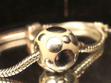 Bead Element  Kugel Groß Kettenanhänger Farbe Creme /Silber für Armband 0452