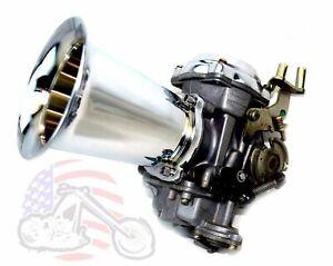 """Chrome Billet Velocity Stack 4"""" Long CV Carb Carburetor EFI Air Intake Harley"""