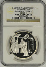 1993 China Silver, 5 Yuan, NGC PF68UC. IDOC Definition Of Zero Series II. Proof!