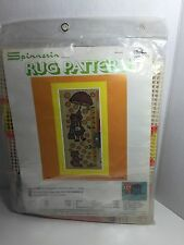 "Spinnerin Rug Pattern Upsy Daisy 18"" X 48"" Girl Dog Printed Canvas Only"