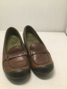 Women's Merrell Plaza Glide Brown Leather Wedge Shoes sz 8 Casual
