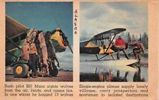 BUSH PILOT BILL MUNZ WOLF HUNTING AVIATION AIRPLANE ALASKA POSTCARD (c. 1940s)