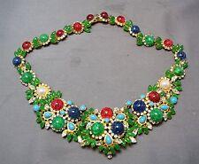RARE 1967 Christian Dior Germany Jeweled Cabachon & Rhinestone Bib Necklace!